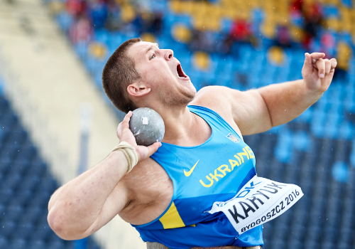 BYDGOSZCZ, POLAND - JULY 19: Ivan Karyuk from Ukraine competes in men's shot put qualification during the IAAF World U20 Championships - Day 1 at Zawisza Stadium on July 19, 2016 in Bydgoszcz, Poland. (Photo by Adam Nurkiewicz/Getty Images for IAAF)